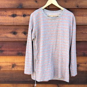 Feathered grey and coral striped sweater